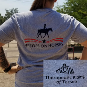 Back of grey Heroes on Horses Shirt